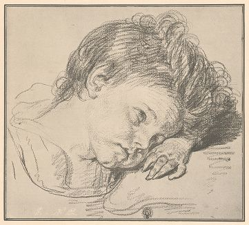 Детский портрет. Рисунок Жана-Батиста Грёза из собрания библиотеки Императорской Академии художеств.