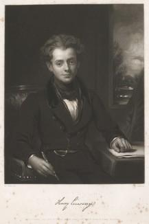 Генри Ливерсидж (1802--1832), английский художник, рано ушедший из жизни, мастер жанровых сцен. Меццо-тинто Генри Казенса с единственного портрета художника кисти Вильяма Брэдли. Лондон. 1835 год