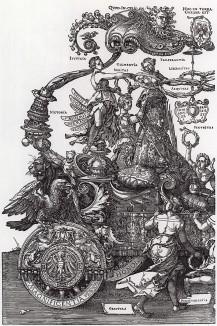 Большая Триумфальная колесница императора Максимилиана I, придуманная, нарисованная и напечатанная Альбрехтом Дюрером (часть 1-я увеличенная)