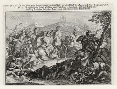 Сражение израильтян с амалекитянами (из Biblisches Engel- und Kunstwerk -- шедевра германского барокко. Гравировал неподражаемый Иоганн Ульрих Краусс в Аугсбурге в 1700 году)