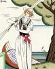 Костюм для речной прогулки. Рекламная иллюстрация художника Шарля Мартена для неизвестного французского дома моды. Les feuillets d'art. Париж, 1920