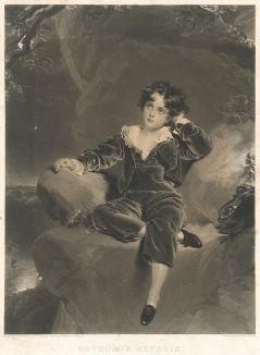 """Чарльз Уильям Лэмбтон (1818-1831) - знаменитый """"Красный мальчик"""" кисти сэра Томаса Лоуренса . Меццо-тинто Самьюэла Казинса."""