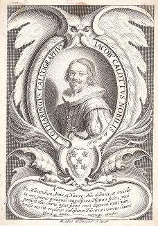 Жак Калло (1592--1635) - великий французский рисовальщик и гравер. Портрет работы Мишеля Ланя, придворного гравера Людовика XIII.