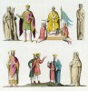Карл Великий и Каролинги (из работы Джулио Феррарио Il costume antico e moderno, o, storia... di tutti i popoli antichi e moderni, изданной в Милане в 1826 году (Европа. Том V))