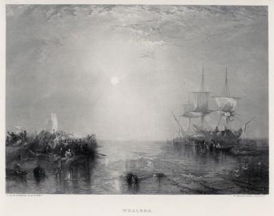 """Китобойные суда (лист из альбома """"Галерея Тёрнера"""", изданного в Нью-Йорке в 1875 году)"""