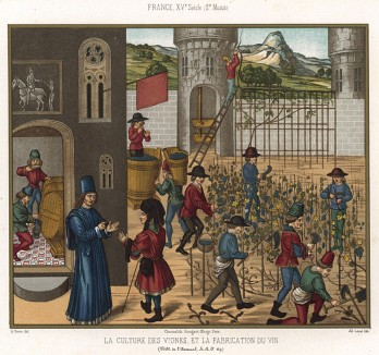 Бордо урожая 1455 года: производство вина в средневековой Франции (из Les arts somptuaires... Париж. 1858 год)