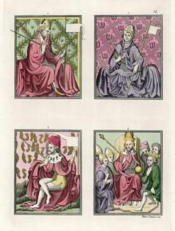 Миниатюры из Венского кодекса Золотой буллы: 1. Архиепископ курфюрст Трира 2. Архиепископ-курфюрст Кёльна 3. Светский правитель 4. Карл IV среди курфюрстов