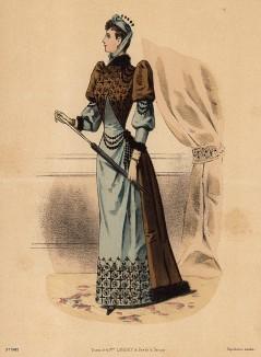 Дамский туалет в восточном стиле с меховой отделкой и бусами. Из французского модного журнала Le Coquet, выпуск 260, 1889 год