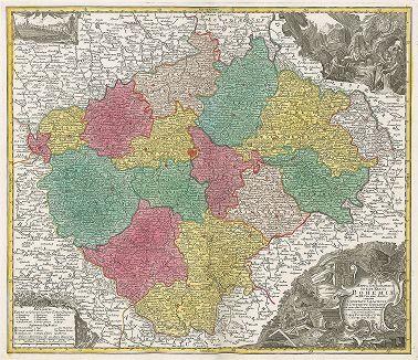 Карта Богемии. Mappa Geographica Totius Regni Bohemiae.