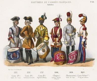 Униформа французских военных музыкантов (литаврщиков) с 1727 по 1834 гг. Costumes de l'armée française depuis Louis XIV, jusqu'à nos jours, л.29. Париж, 1841