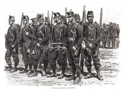 Взвод французских егерей в 1873 году (из Types et uniformes. L'armée françáise par Éduard Detaille. Париж. 1889 год)