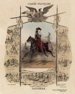 Улан в атаке, а также 7 миниатюр с изображением славных битв французской кавалерии с древних времён и до наших дней (из Esquisses historiques... de l'armée francaise генерала Амбера. Брюссель. 1841 год)