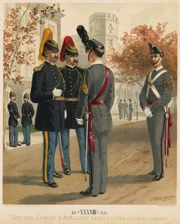 Офицеры принимают доклад кадета. Парадная форма армии США в1888 году (лист 38 одной из самых красивых серий хромолитографий конца XIX века, посвящённых военной форме. Издано в Нью-Йорке силами генерал-квартирмейстера армии США)