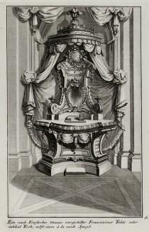 Английский письменный стол в будуаре знатной дамы. Johann Jacob Schueblers Beylag zur Ersten Ausgab seines vorhabenden Wercks. Нюрнберг, 1730