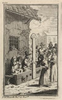 Гудибрас в печали. Сцена 2. Гудибрас и оруженосец Ральфо в кандалах. Забыв о благочестии, они ругают друг друга, не выбирая выражений. Их освобождает богатая вдова, которой приглянулся Гудибрас. Иллюстрация к поэме «Гудибрас». Лондон, 1732