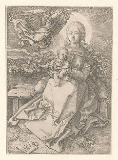 Мадонна, коронуемая ангелом. Гравюра Альбрехта Дюрера, выполненная в 1520 году (Репринт 1928 года. Лейпциг)