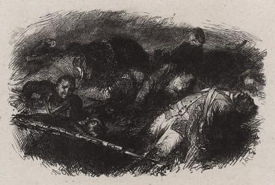 После битвы. Illustrations des œuvres de Frédéric le Grand, л.186. Лондон, 1882