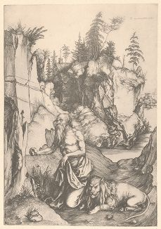Святой Иероним в пустыне. Гравюра Альбрехта Дюрера, выполненная в 1512 году (Репринт 1928 года. Лейпциг)