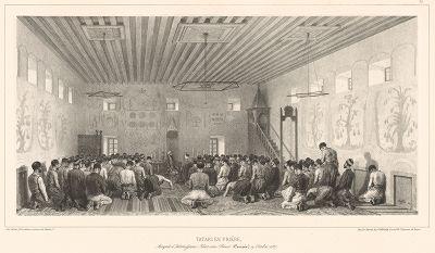 Молитва в мечети Карасу-Базара 19 октября 1837 года (из Voyage dans la Russie Méridionale et la Crimée... Париж. 1848 год (лист 77))