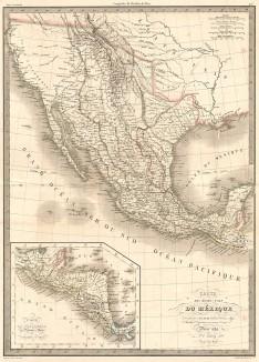 Карта Соединенных штатов Мексики, а также Гватемалы и государств Центральной Америки. Atlas universel de geographie ancienne et moderne..., л.44. Париж, 1842