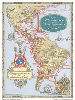 """Иллюстрированная карта Северной и Южной Америки с указанием кабельных линий связи, проложенных компанией """"All America Cables""""."""