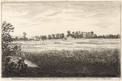 Панорамный вид особняка мистера Рэнди в Чизвике, 1748. Какие-либо пояснения Вильяма Хогарта к этому пейзажу с дворцом на горизонте отсутствуют. Гравюра впервые опубликована вдовой художника в 1781 году. Лондон, 1838