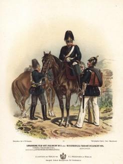 Офицер и солдаты 3-го гвардейского полка полевой артиллерии прусской армии в униформе образца 1870-х гг. Preussens Heer. Берлин, 1876