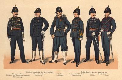 Колониальная армия голландской Ост-Индии: адъютант генерал-губернатора в парадной форме, офицер и фузилёр в полевой форме, пехотный фельдфебель в парадной форме, офицер и рейтар кавалерии
