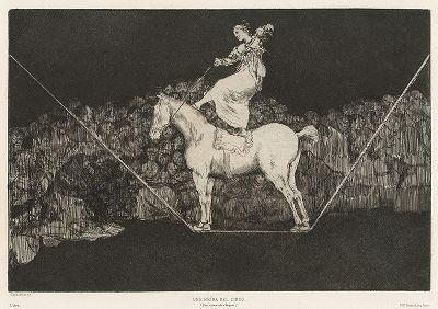 Безопасная глупость (Королева цирка). Акватинта Франсиско Гойи 1799 года из первого посмертного издания, вышедшего в журнале L'Art в 1877 году.