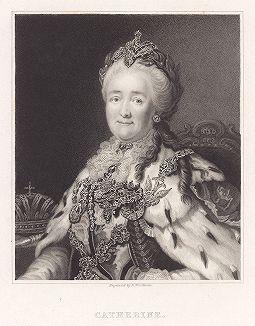 Екатерина II Великая. Гравюра с парадного портрета работы Александра Рослина.