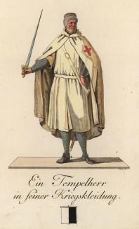 Тамплиер в одеянии для боя. Abbildungen derjenigen Ritter-Orden welche eine eigene Ordenskleidung haben. Мангейм, 1791
