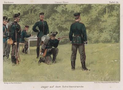 Саксонские егеря на занятих по стрельбе в 1890-е гг. Vaterland in Waffen. Illustrierte Unterhaltungsblätter für das deutsche Volk und Heer, л.24. Берлин, 1895