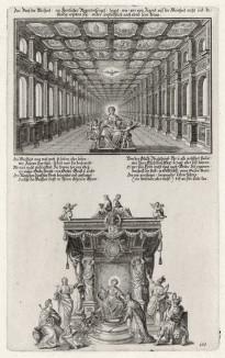 Царица мира (из Biblisches Engel- und Kunstwerk -- шедевра германского барокко. Гравировал неподражаемый Иоганн Ульрих Краусс в Аугсбурге в 1700 году)