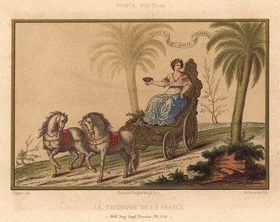 Триумф Франции: богиня победы Ника мчится в колеснице в ознаменование победы (из Les arts somptuaires... Париж. 1858 год)