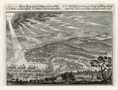 Гроза над ассирийским лагерем (из Biblisches Engel- und Kunstwerk -- шедевра германского барокко. Гравировал неподражаемый Иоганн Ульрих Краусс в Аугсбурге в 1700 году)
