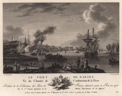 Строительство набережной в Нанте -- на берегу Луары (лист 15 из альбома гравюр Nouvelles vues perspectives des ports de France..., изданного в Париже в 1791 году)
