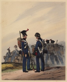 Канониры полевой артиллерии королевства Вюртемберг на марше (литография из Das Koniglich Wurttembergische Militair... Вюрцбург. 1840 год)