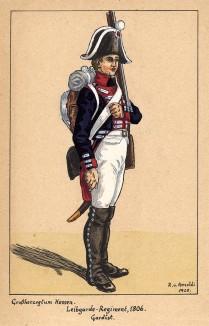 1806 г. Солдат гвардейского пехотного полка Великого герцогства Гессен. Коллекция Роберта фон Арнольди. Германия, 1911-29