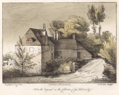 Дом у реки. Гравюра с рисунка знаменитого английского пейзажиста Томаса Гейнсборо из коллекции Дж. Хибберта. A Collection of Prints ...of Tho. Gainsborough, Лондон, 1819.