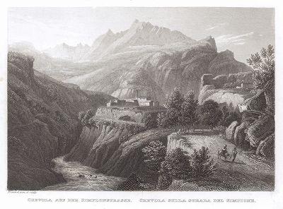Путники на высокогорном перевале в Альпах -- Симплоне