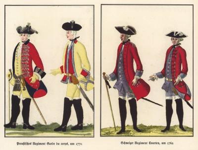 Прусские конногвардейцы в 1770 году (слева), офицеры швейцарского полка Сourten в 1762 году (из популярной в нацистской Германии работы Мартина Лезиуса Das Ehrenkleid des Soldaten... Берлин. 1936 год)