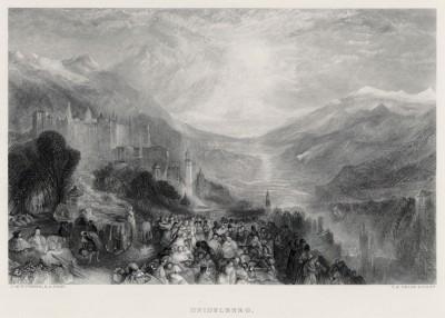 """Вид на Гейдельберг (лист из альбома """"Галерея Тёрнера"""", изданного в Нью-Йорке в 1875 году)"""