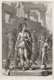 Персонификация Virtus Augusti c барельефа арки Константина в Риме. Лист из Sculpturae veteris admiranda ... Иоахима фон Зандрарта, Нюрнберг, 1680 год.