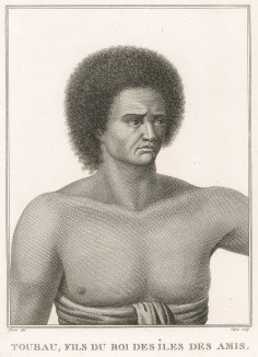 Вуасесе - обитатель острова Фиджи. Atlas pour servir à la relation du voyage à la recherche de La Pérouse, л.29. Париж, 1800