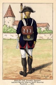1803 г. Солдат лейб-гренадерского полка Великого герцогства Баден при полной выкладке. Коллекция Роберта фон Арнольди. Германия, 1911-29