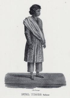 Житель острова Тимор в традиционном костюме (лист 5 второго тома работы профессора Шинца Naturgeschichte und Abbildungen der Menschen und Säugethiere..., вышедшей в Цюрихе в 1840 году)