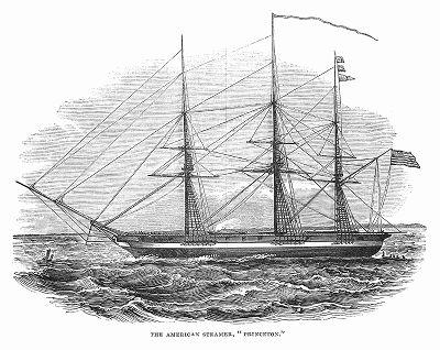 """Американский военный винтовой пароход """"Принстон"""", построенный в 1843 году на верфи в Филадельфии инженером Джоном Эрикссоном (1803 -- 1889 гг.) и капитаном Робертом Стоктоном (1795 -- 1866 гг.) (The Illustrated London News №108 от 25/05/1844 г.)"""