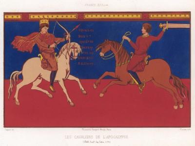 Двое из четырёх всадников Апокалипсиса. Всадник на белом коне -- Антихрист, всадник на рыжем коне -- Война (из Les arts somptuaires... Париж. 1858 год)