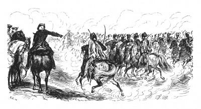 Король на учениях кавалерии. Во время правления Фридриха Великого прусская кавалерия заслуженно считалась лучшей в мире. Илл. Адольфа Менцеля. Geschichte Friedrichs des Grossen von Franz Kugler. Лейпциг, 1842, с.249