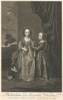 Портрет Елизаветы и Филадельфии Уортон.  Гравюра с оригинала Антониса ван Дейка из коллекции Роберта Уолпола (теперь в Эрмитаже).